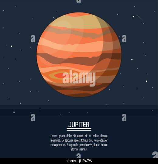 colorful poster with planet jupiter - Stock Image