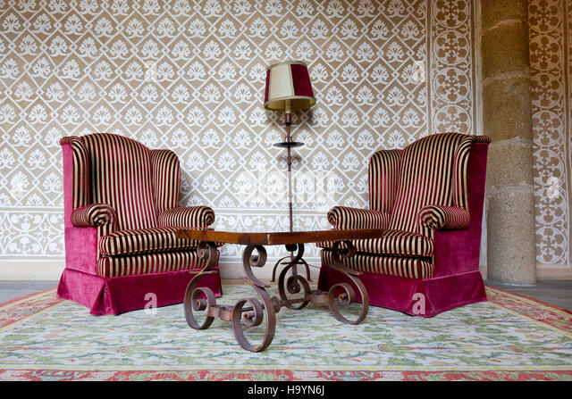 Vintage Waiting Room With Two Red And Golden Stripes Wing Chairs, In  Parador Plasencia (