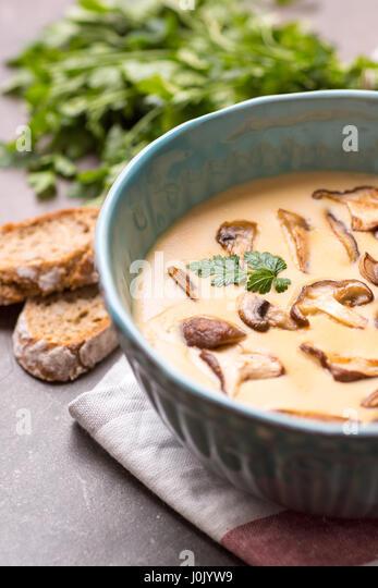 Creamy Mushroom Soup In Bowl On Stone Background Homemade Mushrooms Pottage Puree Stock