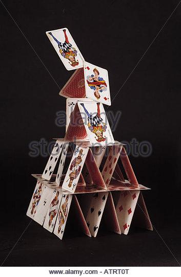 Playing Cards Falling Stock Photos & Playing Cards Falling ... House Of Playing Cards
