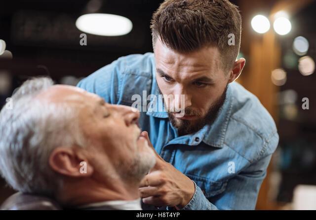 shave barber customer stock photos shave barber customer stock images. Black Bedroom Furniture Sets. Home Design Ideas
