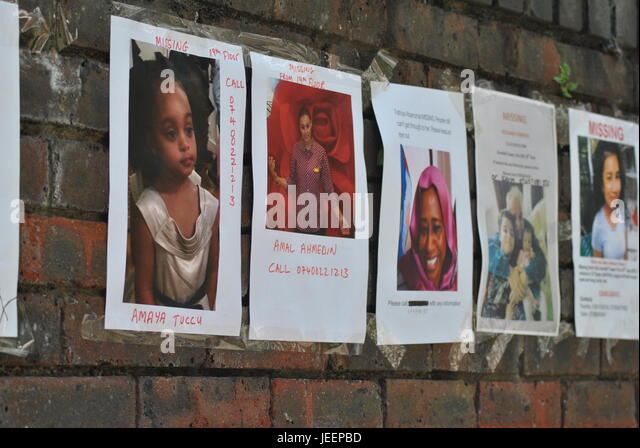 U0027THE MISSINGu0027 Close Up Of Posters Showing Missing Persons, Victims Of  Grenfell Fire U0027  Missing People Posters