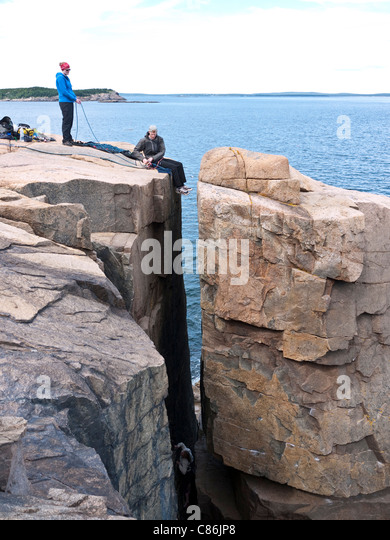 Arcadia national park stock photos arcadia national park stock rock climbers at otter cliffs in arcadia national park me usa stock image sciox Choice Image