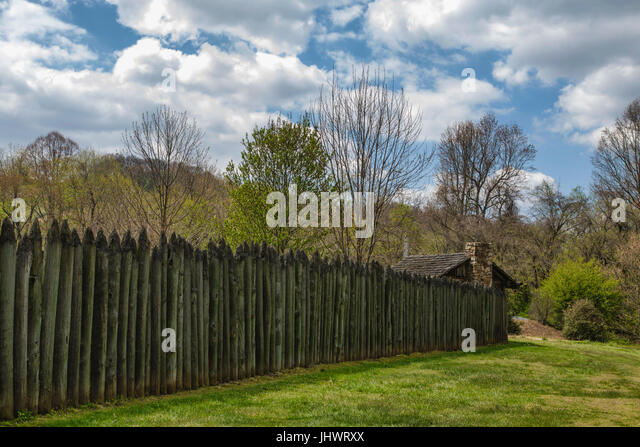 Fort at Sycamore Shoals in Elizabethton, Tennessee - Stock Image