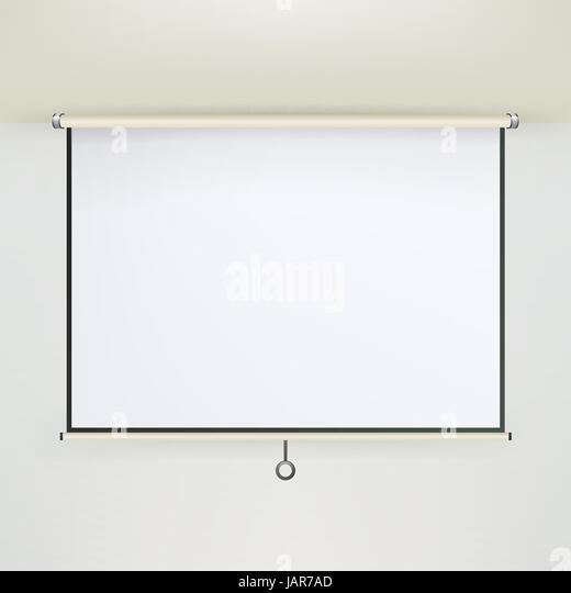 Meeting Projector Screen Vector. Empty White Board Presentation Conference On The Wall. creen White Boad Presentation - Stock Image