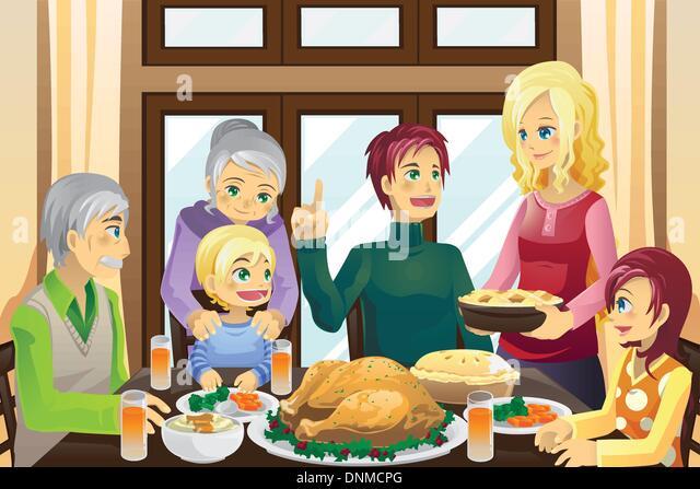 A Vector Illustration Of Family Having Thanksgiving Dinner Together