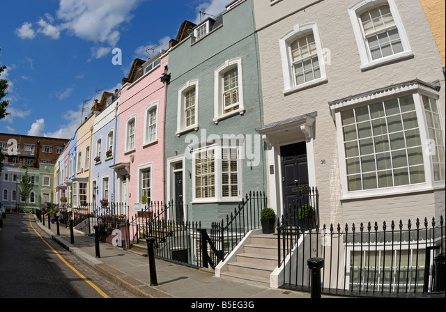 Brightly Coloured Cottage Style Houses Chelsea London