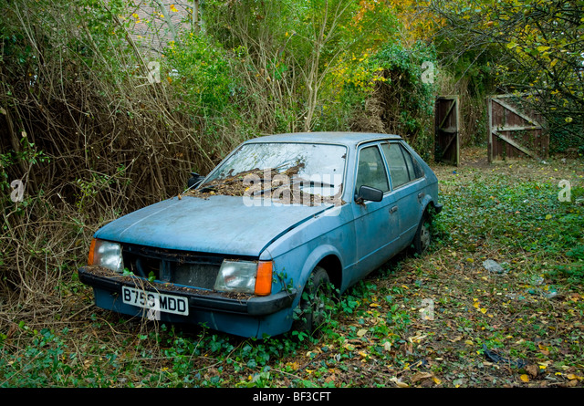 an abandoned car stock image