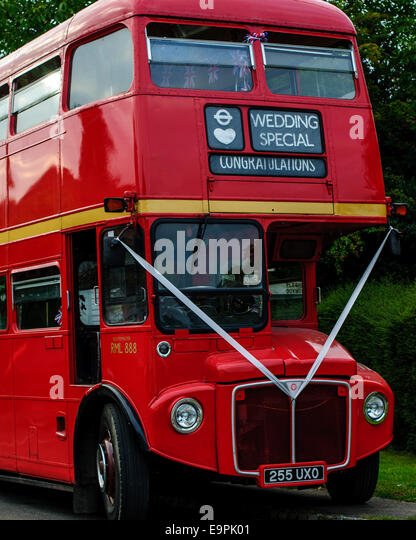 Old Red Double Decker Bus Decorated For Wedding
