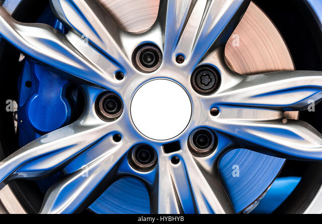 close up of a modern sport wheel with blue brake stock image