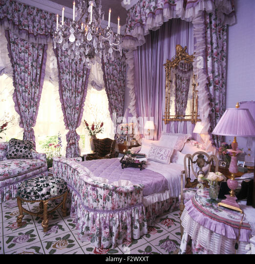 Floral drapes on windows and above bed in over the top mauve nineties  bedroom   StockMauve Curtains Stock Photos   Mauve Curtains Stock Images   Alamy. Mauve Bedroom. Home Design Ideas