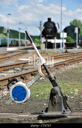 Lever Train Track : Train track switch stock photos