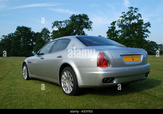 Rear View Of A Silver Maserati Quattroporte 2006 Luxury Saloon Car.   Stock  Image