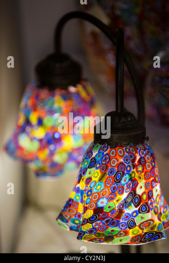 Glass lamp shade stock photos glass lamp shade stock images alamy twin table lamp with murano glass shades made in the millefiori style stock image mozeypictures Choice Image