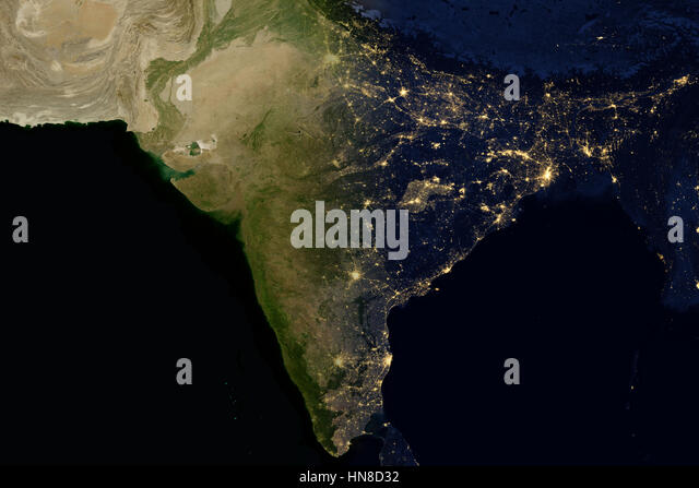 city lights on world map india stock image