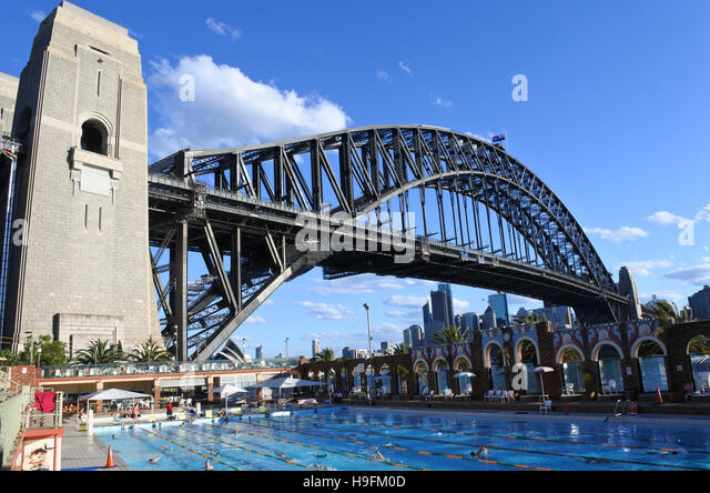 people swim in north sydney olympic pool against sydney harbour bridge stock image - Olympic Swimming Pool 2016