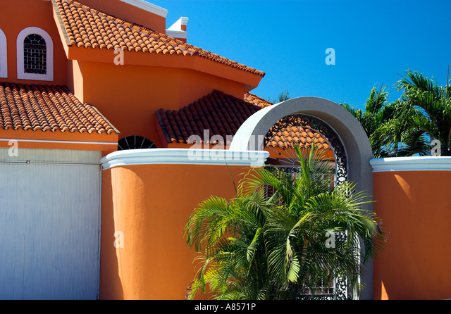 Homes With Typical Mexican Spanish Design In Mazatlan Mexico Stock Image