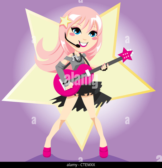Rock Star Girl With Pink Hair Playing Electric Guitar And Singing