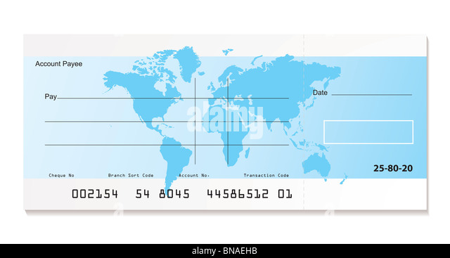 Bank cheque stock photos bank cheque stock images alamy illustrated bank cheque with world map and sample template stock image ccuart Images