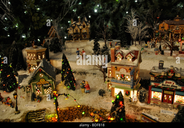 miniature christmas village toy houses decorations stock image