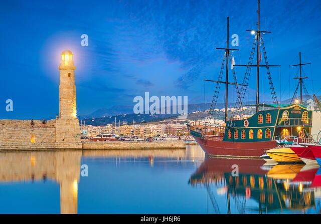 Lighthouse at Old Venetian Port, Rethymno, Crete, Greece - Stock Image