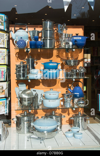 Pots, Pans And Other Kitchen Utensils In A Shop Window. UK, 2013.