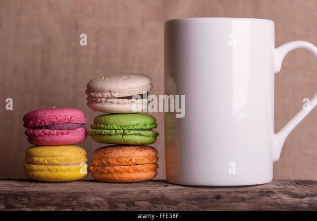 coffee and cakes coffee mug white table side view stock photos coffee mug white