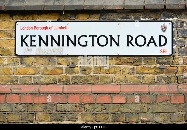 Kennington Road sign, London - Stock Image