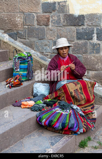 Knitting Items For Sale : Quechua woman stock photos images