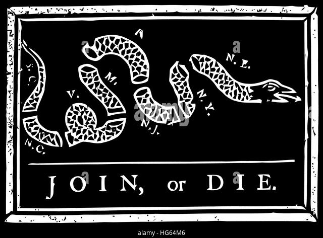 Join Or Die Political Cartoon By Benjamin Franklin