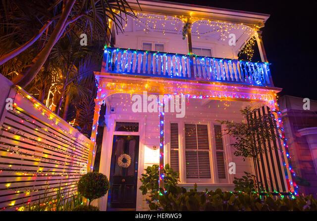 Christmas Lights House Outdoor Night Stock Photos