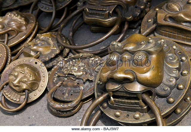 Bronze replicas of traditional dragon head door handles for sale at the  Dontai lu antique market - Antique Door Knob Stock Photos & Antique Door Knob Stock Images