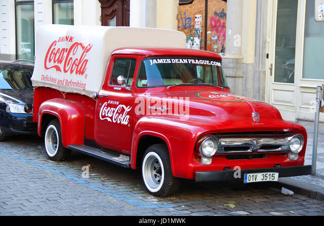 An Old Renovated Red Ford Vintage Coca Cola Truck Pickup In A Parking Jd Mwk on 2000 Mercury Cougar Stock