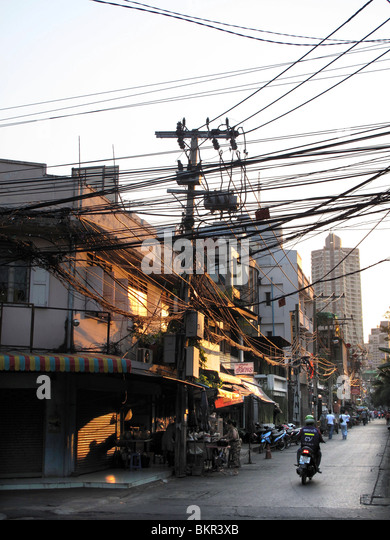 Street With Electricity Wires Stock Photos & Street With ...