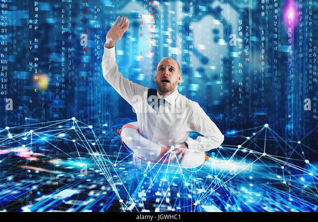Businessman needs help to surf the internet. Internet exploration problem concept - Stock Image