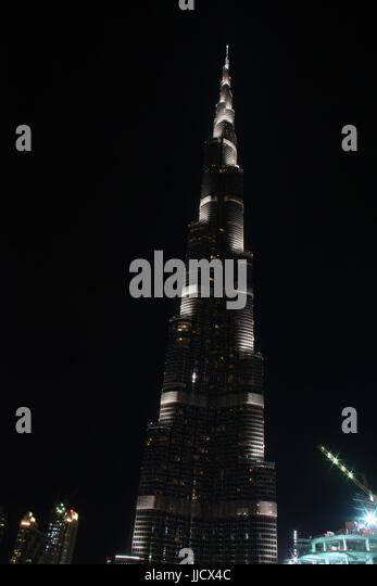 The view of sparkling Burj Khalifa in Dubai at night, the tallest building in the world - Stock Image