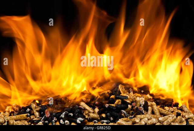 Burning Wood Biomass Pellets ~ Wood biomass stock photos images alamy