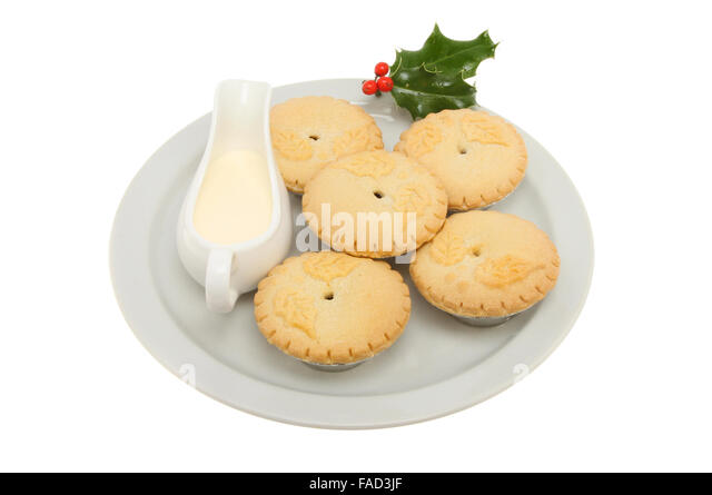 Mince pies on a plate with a jug of cream and a sprig of holly isolated  sc 1 st  Alamy & Plate Mince Pies Decorated Holly Stock Photos \u0026 Plate Mince Pies ...
