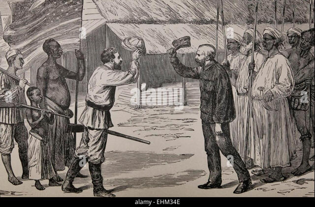 Superb Stanley Meets Livingstone   Dr Livingstone, I Presume   1871   Stock Image