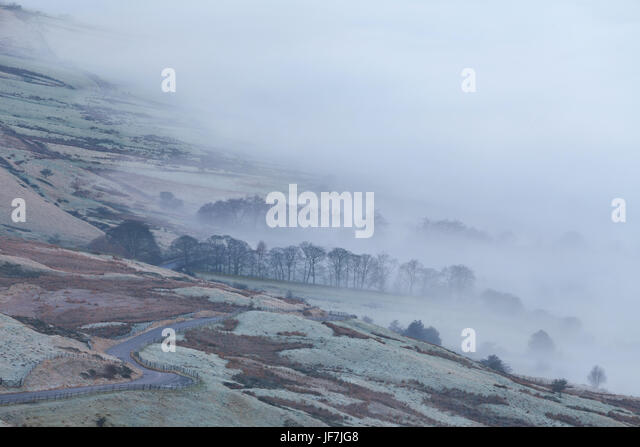 Mist in the Edale valley, Derbyshire, UK - Stock Image