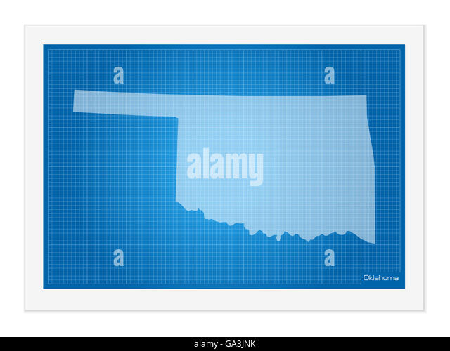 Oklahoma state map stock photos oklahoma state map stock images oklahoma on blueprint on a white background stock image malvernweather Images