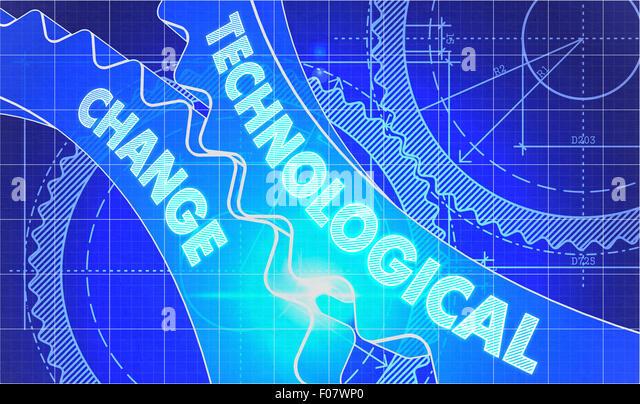 Technological change stock photos technological change stock technological change on the gears blueprint style stock image malvernweather Choice Image