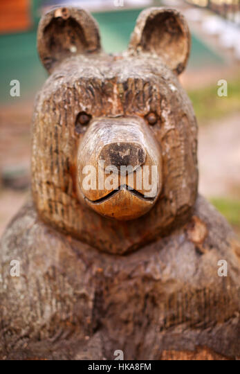 Carved wood bear stock photos