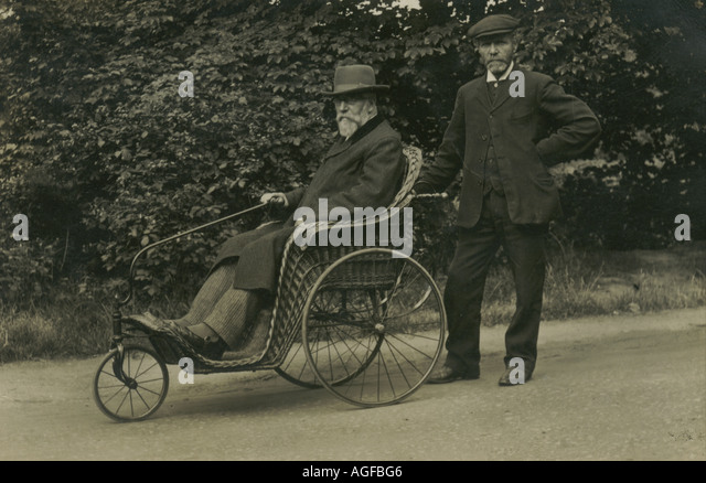 photograph of bath chair with owner and companion circa stock image - Bath Chair