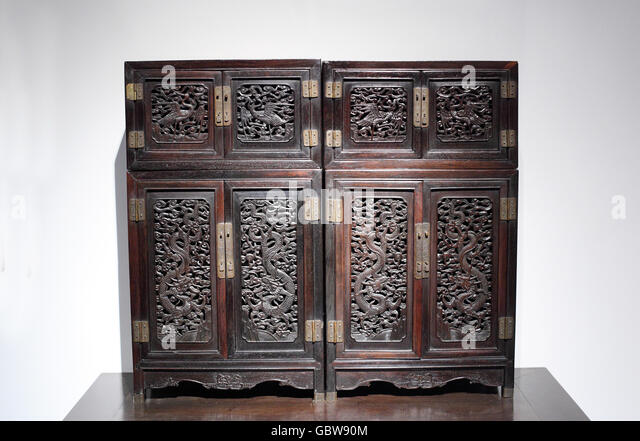 High Quality Red Sandalwood Carvings, Small Dragon Cloud Cabinet   Stock Image