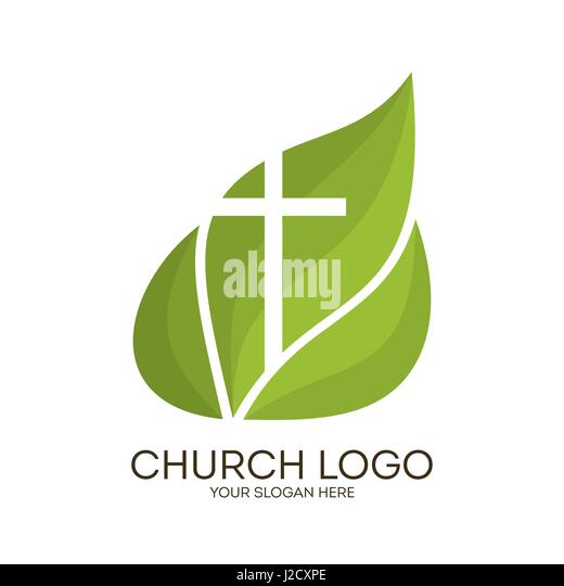 church logo christian symbols cross on a background of green leaves j2cxpe dove on the cross stock photos & dove on the cross stock images  at suagrazia.org