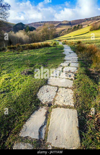 The Grindsbrook path to Kinder Scout from Edale, Peak District National Park - Stock Image