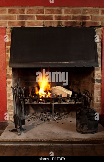 Traditional Pub Interior Fireplace Stock s