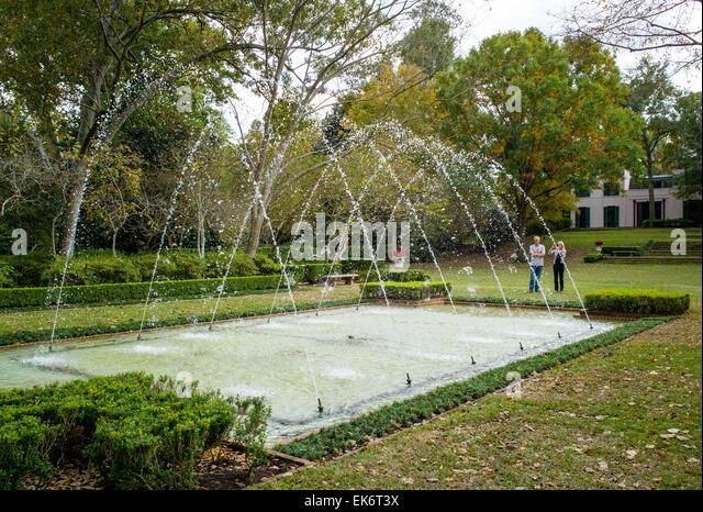 Tourists View Fountains, Bayou Bend Gardens U0026 Home, Museum Of Fine Arts  Houston