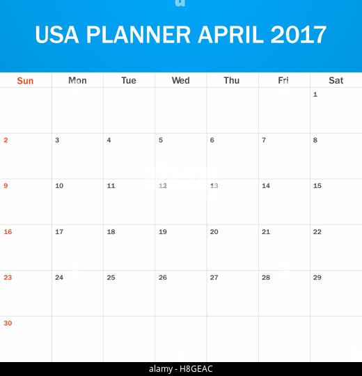 USA Planner blank for April 2017. Scheduler, agenda or diary template ...